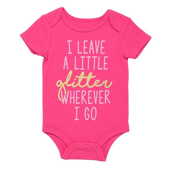 Little Girls' Pink Bodysuit I Leave Glitter Bodysuit