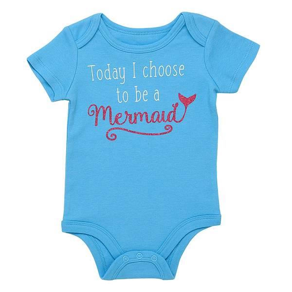 Little Girls' Bodysuit I Choose Mermaid Blue