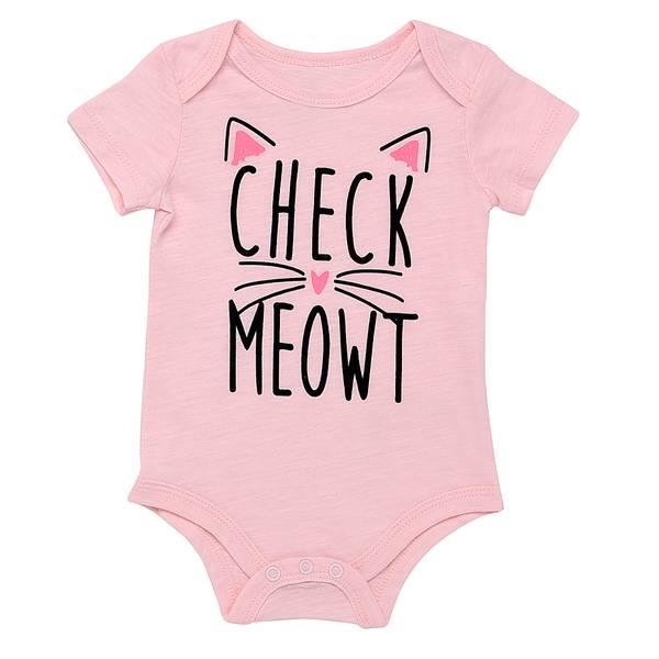 Little Girls' Bodysuit Check Meow Light Pink