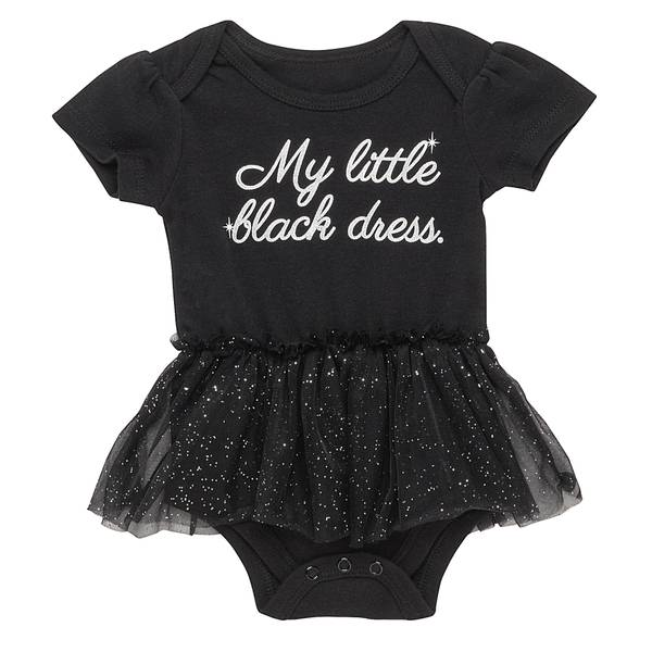 Little Girls' Black My Little Black Bodysuit