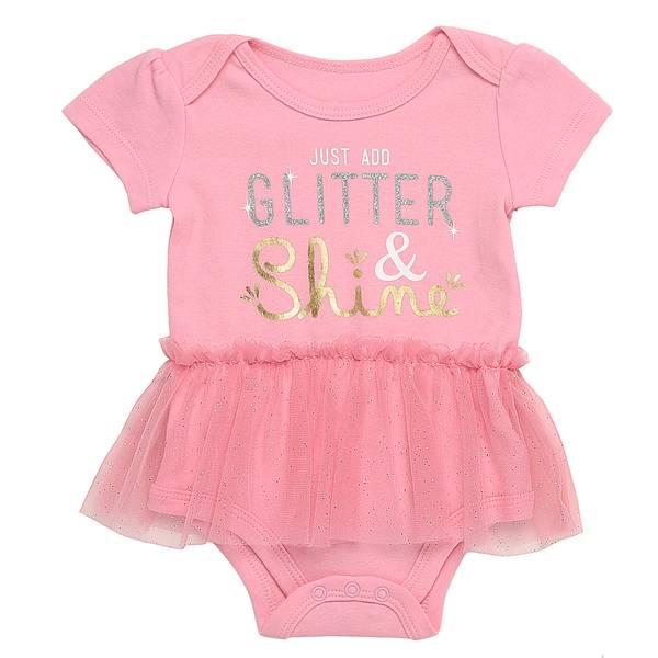 Baby Girls' Pink  Just Add Glitter Bodysuit