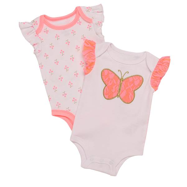 Girls' White 2-Pack Bodysuit with Butterfly