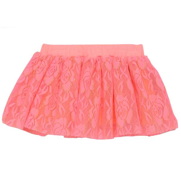 Girls' Pink Glitter Lace Overlay Skirt