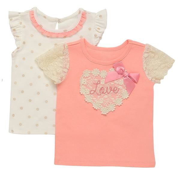 Little Girls' Pink Love 2-Pack Solid & Heart Applique Top