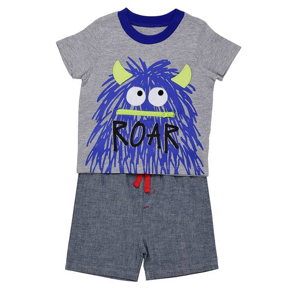Little Boys' 2-Piece Short Set Hairy Monster Blue