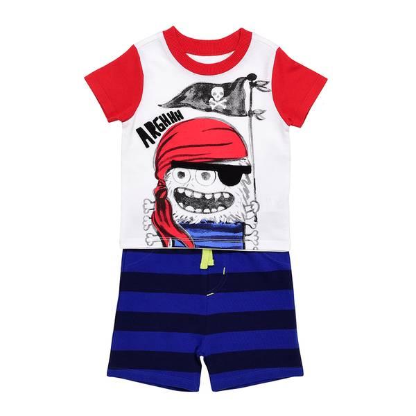 Little Boys' Red 2-Piece Pirate Arghhh Short Set
