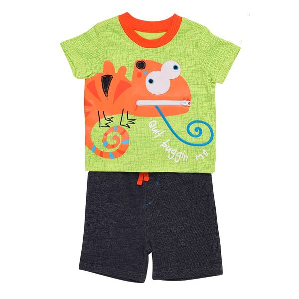 Little Boys' 2-Piece Short Set Quit Buggin Me Lime