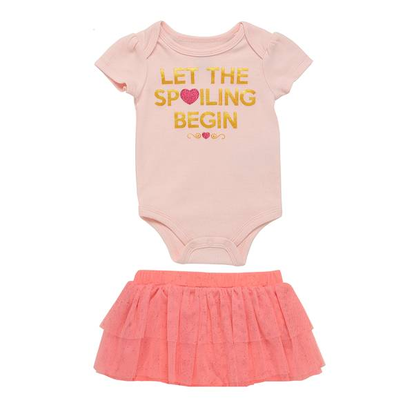 Little Girls' Pink 2-Piece Let The Spoiling Begin Set