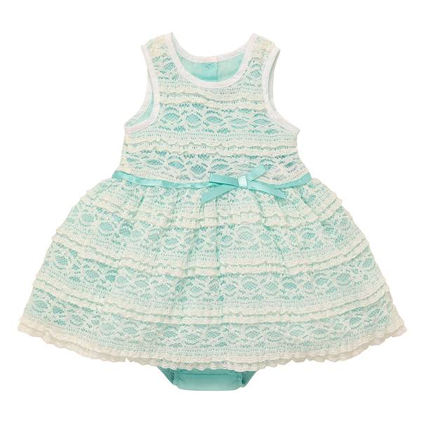 Little Girls' Turquoise Textured Lace Dress