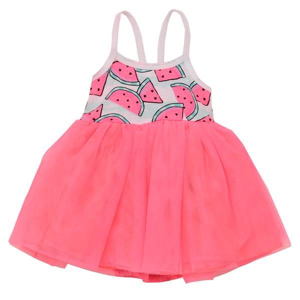 Little Girls' Dress AOP Tank Bodice Pink