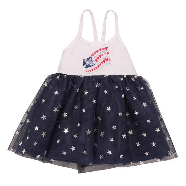 Little Girls' White Dress American Flag Tank Top