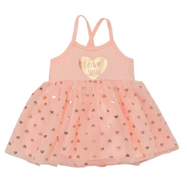 Little Girls' Dress Heart Love You Pink