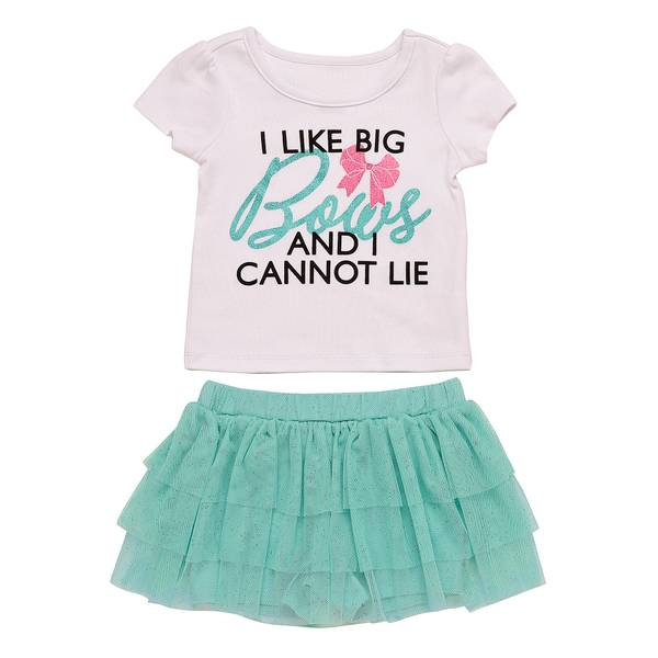 Baby Girls' White 2-Piece I Like Big Bows Set