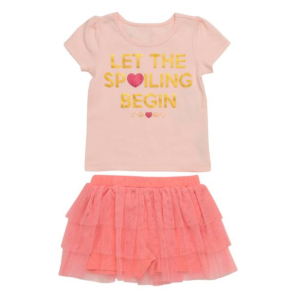 Baby Girls' Pink 2-Piece Let The Spoiling Begin Set Let