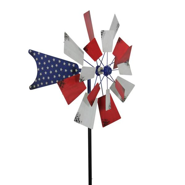 "24""  Patriot Kinetic Windmill Garden Stake"