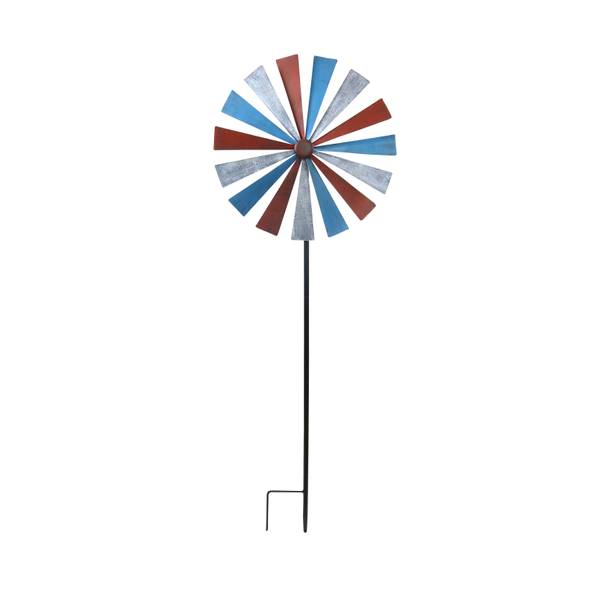 "72"" Red & Blue Old Fashion Windmill Garden Stake"