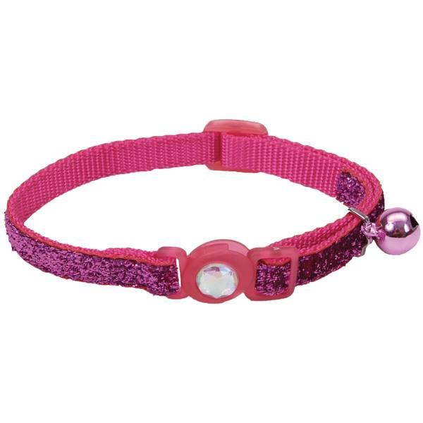 "3/8"" x 8-12"" Pink Sparkles Cat Collar"