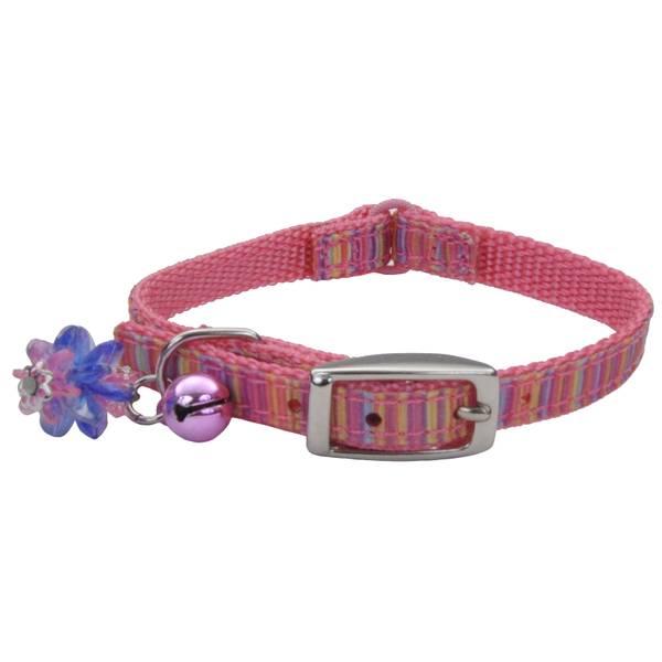 """5/16"""" x 6-8"""" Pink Ribbon Kitten Collar"""