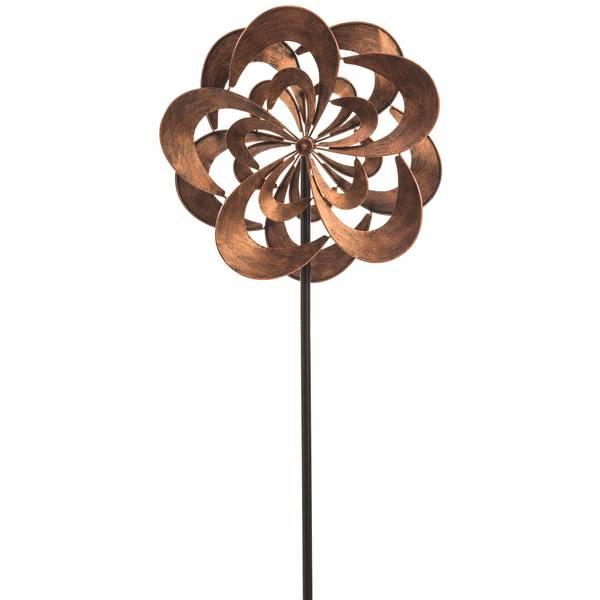 Rotating Bronze Flower  Kinetic Topper