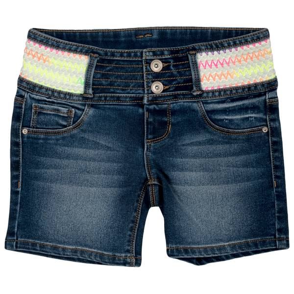 Big Girls' Multi Colored Waist Short Dark Wash