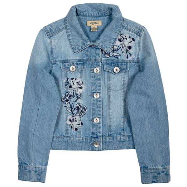 Squeeze Kids Big Girls Light Wash Floral Embroidered Denim Jacket