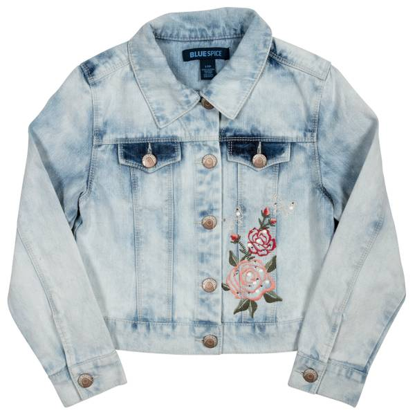 Big Girls' Rose Patch Acid Wash Jacket