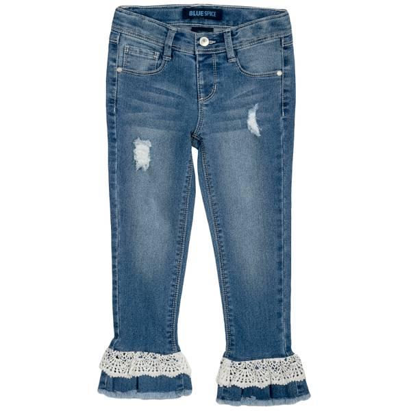 Little Girls' Trey Wash Frankenstein Crochet Jeans