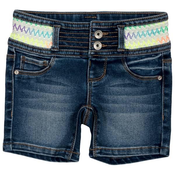 Little Girls' Dark Wash Multi Colored Waist Shorts