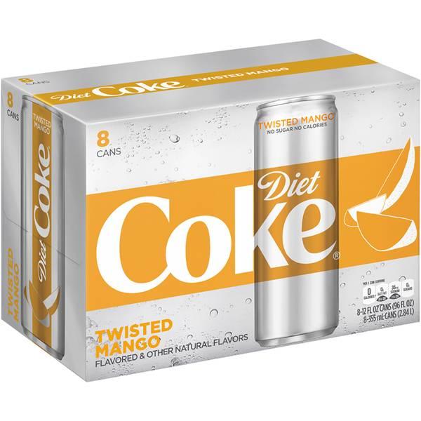 8-Pack 12oz Twisted Mango Diet Coke