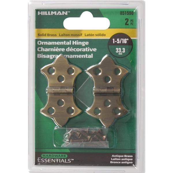 "Solid Antique Brass 1-5/16"" Cupboard Decorative Hinge"