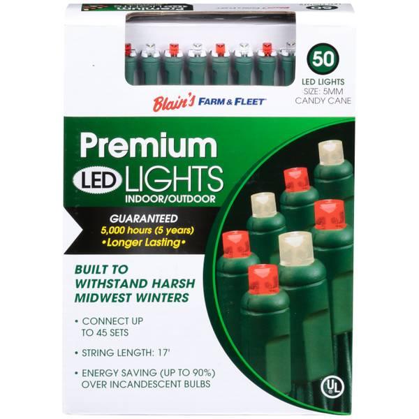 5mm 50L Candy Cane F&F LED Light Set