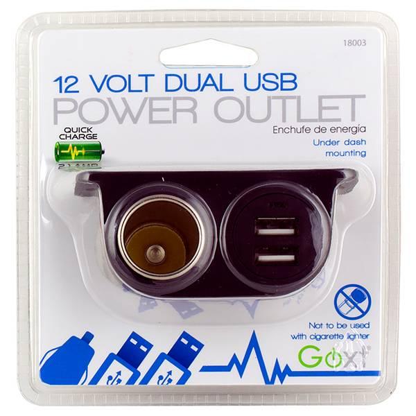 12V Dual USB Under Dash Power Outlet