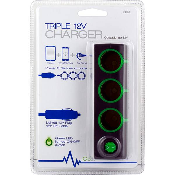 Goxt Triple 12V Charger with Lighted Switch