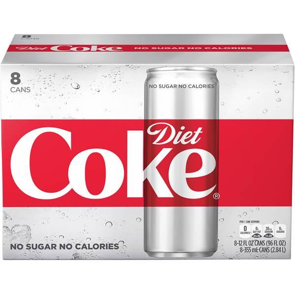 8-Pack 12 oz Sleek Diet Coke