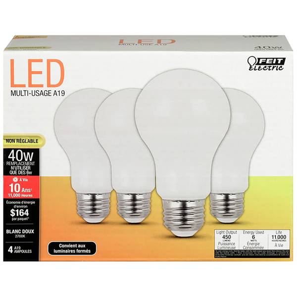 4-Pack 40 Watt Non-Dimmable LED