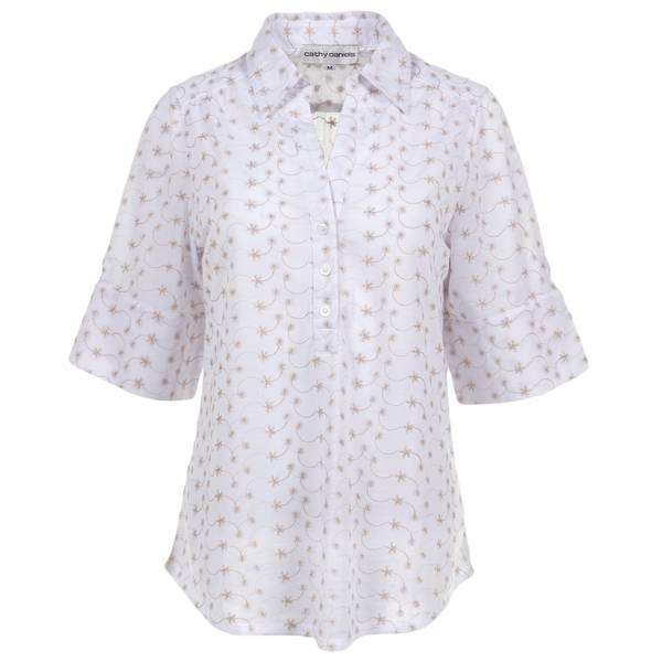 Women's Khaki Roll Tab Sleeve Shirring Shirt
