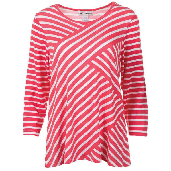 Misses 3/4 Sleeve Stripe Pull Over Top
