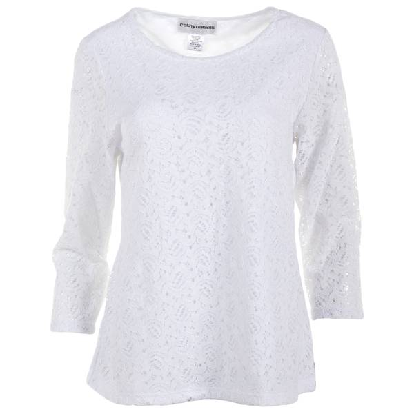 Misses 3/4 Sleeve Scoop Lace Pullover Top