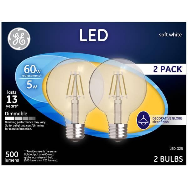 Soft White 5 W LED G25 2-Pack