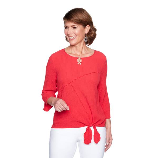Women's 3/4 Sleeve Splice Tie Front Top