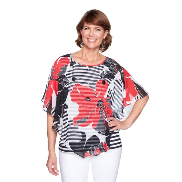 Women's Cap Sleeve Floral Strap Overlay Top