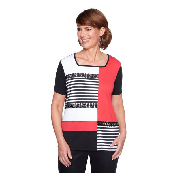 Women's Short Sleeve Colorblock Top