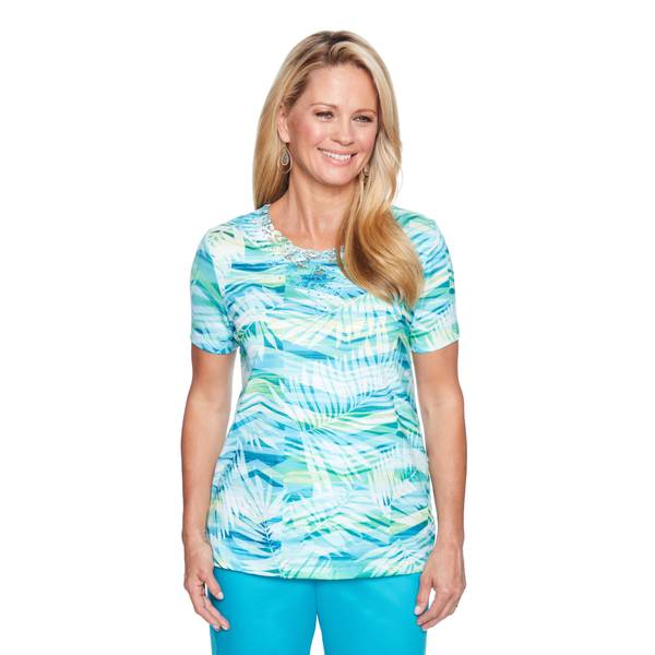 Misses Short Sleeve Abstract Leaves Top