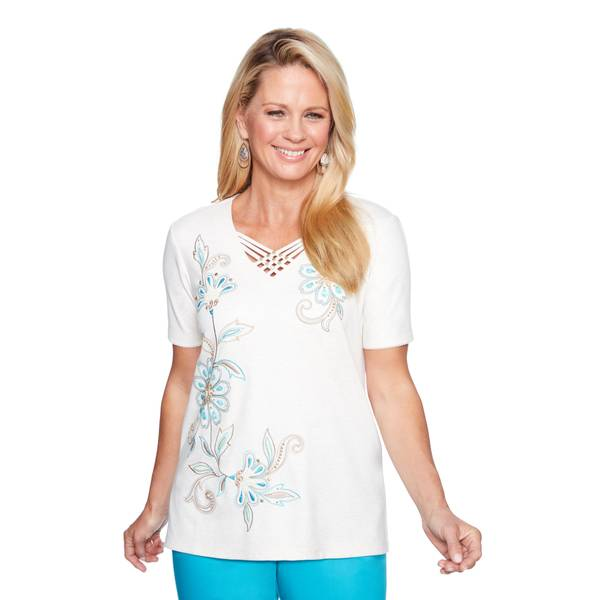Misses Short Sleeve Scroll Flower Embroidered Top