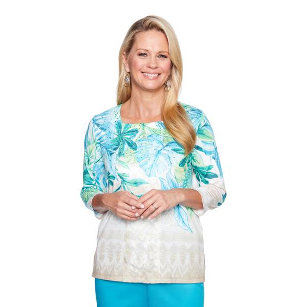 Women's 3/4 Sleeve Tropical Leaves & Lace Top