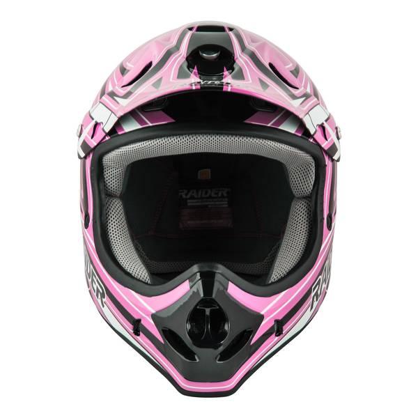 Youth Pink & Black Graphic Printed MX Helmet