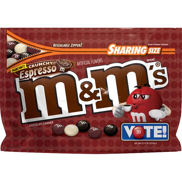 M&Ms Chocolate Candy (6 Pack) Flavor Vote Crunchy Espresso Sharing Size, 8 Ounce Bags