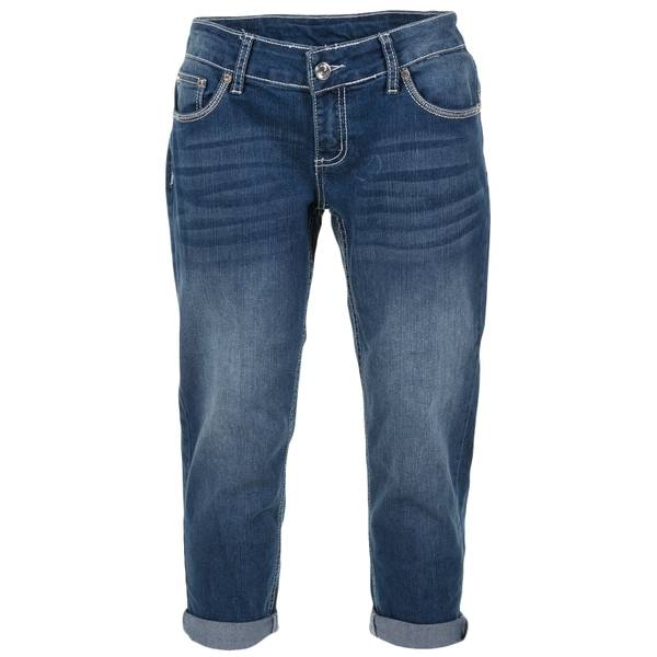 "Women's 21"" Roll Cuff Embroidered Flap Pocket Capri Pants"
