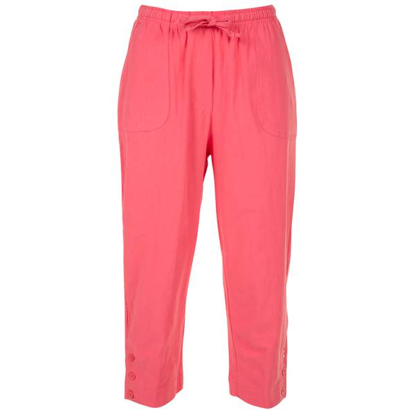 Women's Coral Pull On 3 Button Ankle Capri