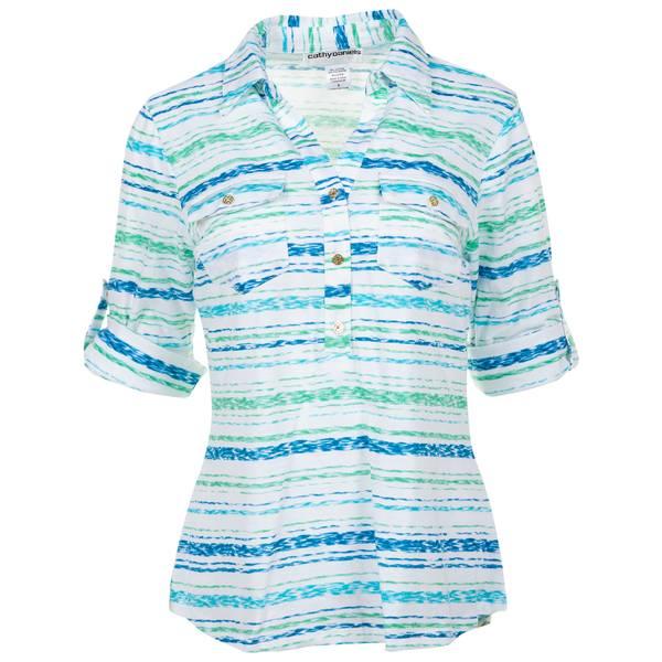 Women's Bermuda Roll Tab Sleeve Y Neck Print Top